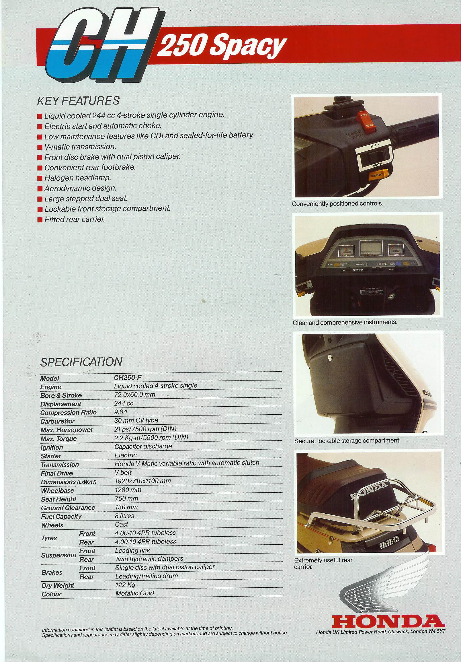 General Honda Scooter Information 1987 Elite Wiring Motorcycle 1985 250 European Brochure Back Full Size