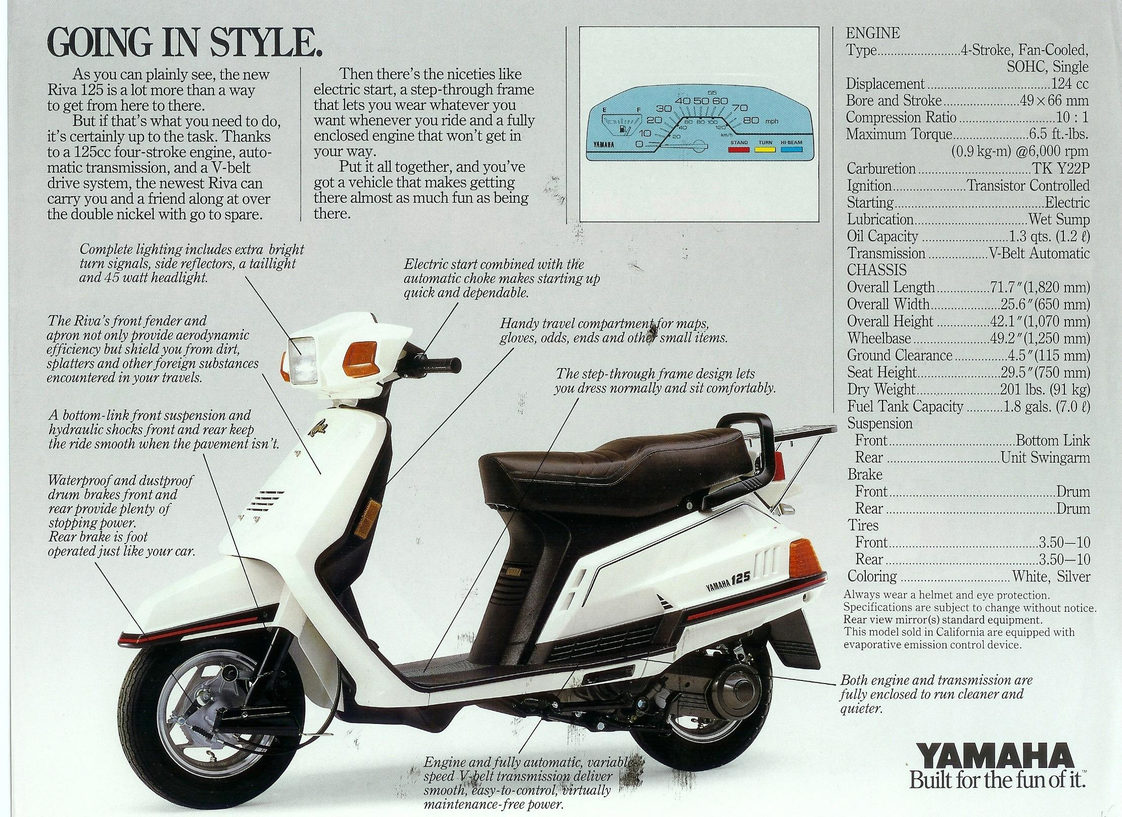 Yamaha Riva 125 Motor Scooter Guide 370 X Wiring Diagram Brochure 2