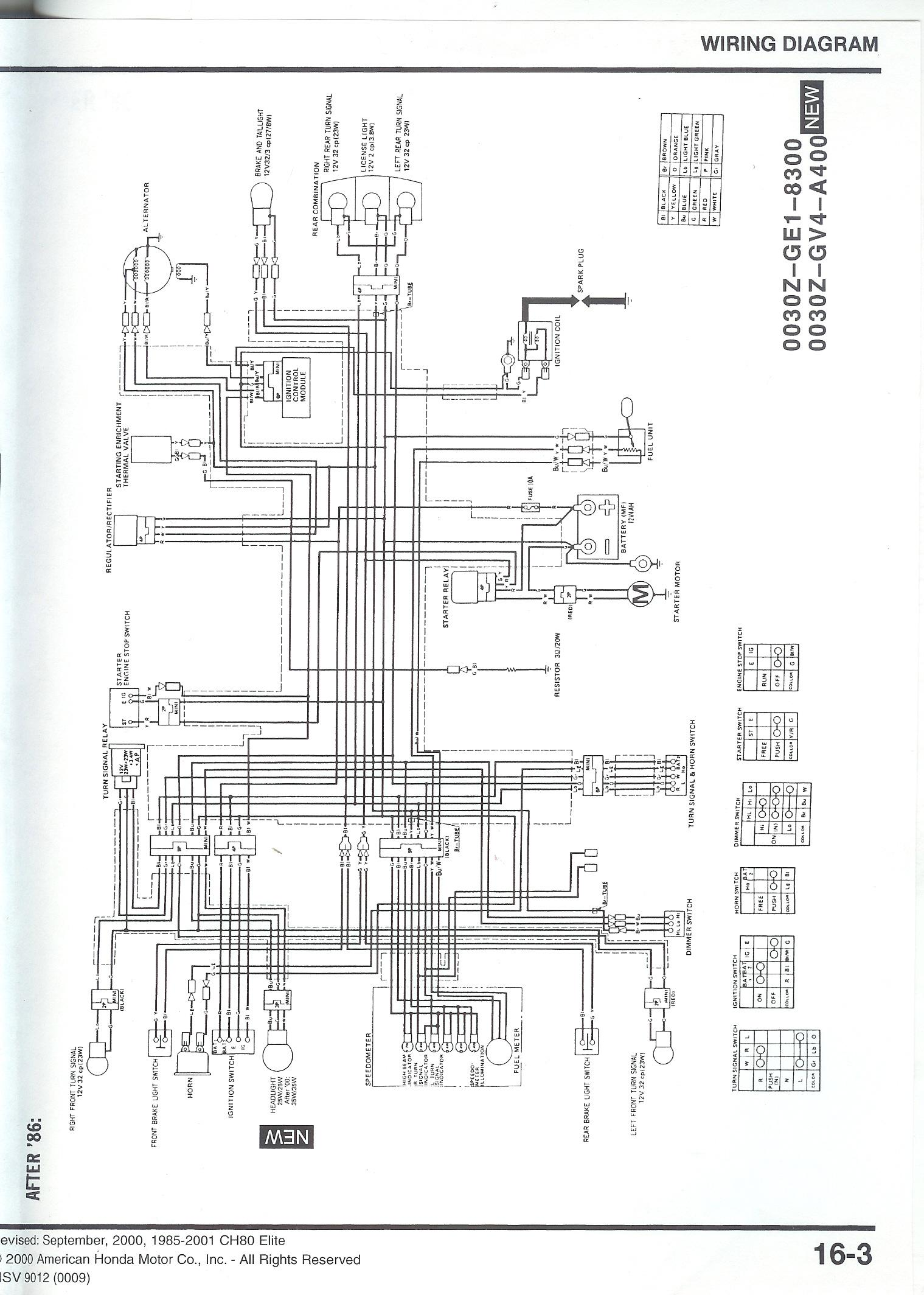 honda elite wiring diagram honda wiring diagrams